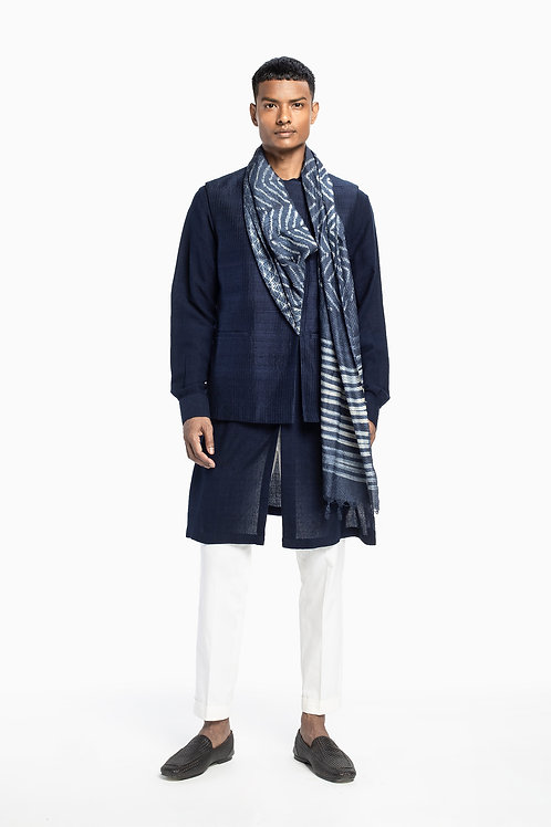 Blue Shibori Drape Sadri Set