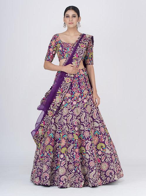 Purple Rangatira Chitra  Lehenga