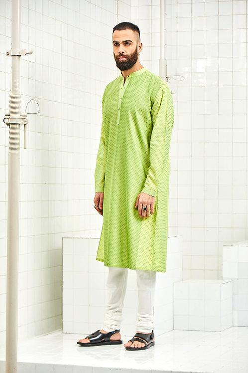Green Dhadhu Pintuck Block Print Kurta Set
