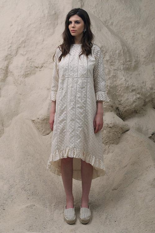 Ivory Lego Line Art Paneled Dress