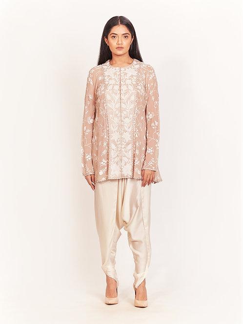 Pink Embellished Short Kurta And Dhoti Pant Set