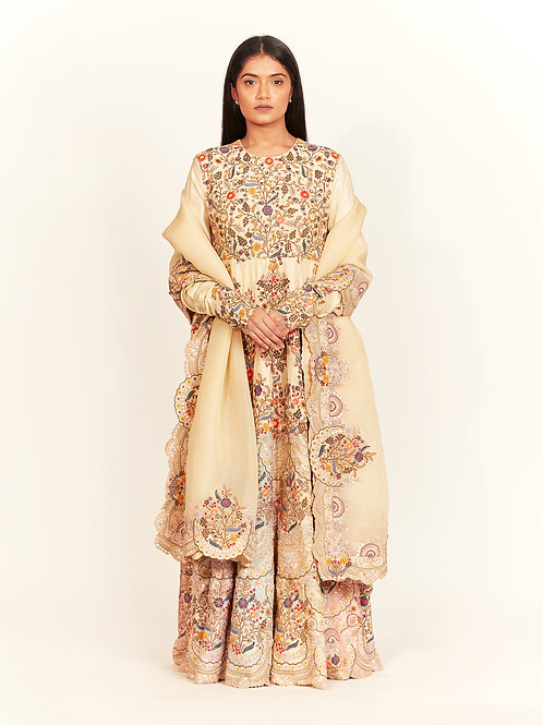 Cream Gota Ghera Kurta Set