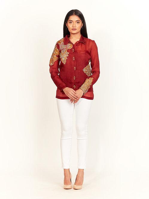 Rust Floral Motif Shirt