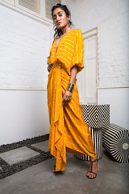 Mustard Kimono Wrap Dress