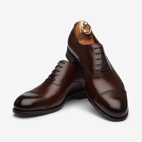 Dark Brown Punch Cap Oxford Shoes