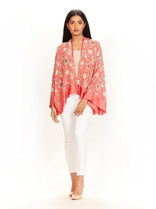 Coral Chidiya Print Kimono Jacket