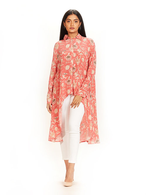 Coral Chidiya Print High-Low Shirt