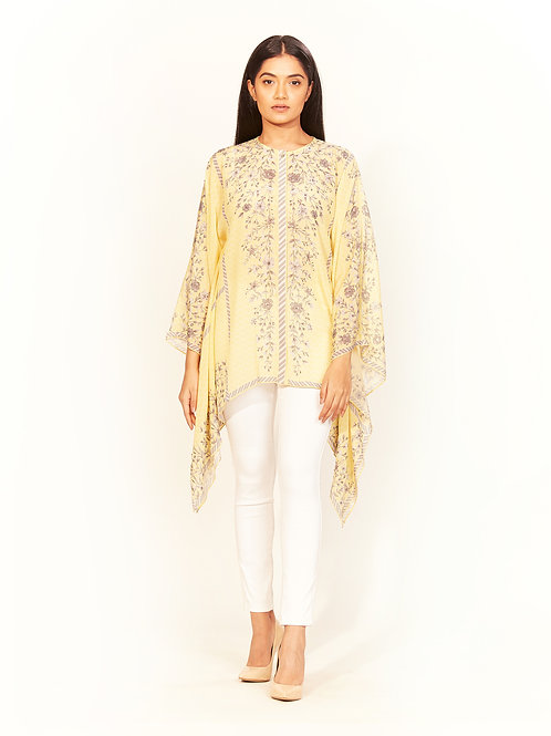 Yellow Verbena Print Cape Top