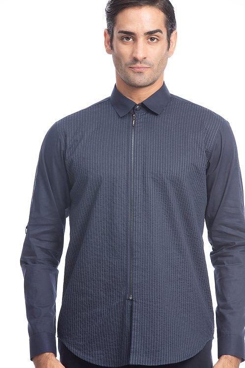 Navy Stitchline Panel Shirt