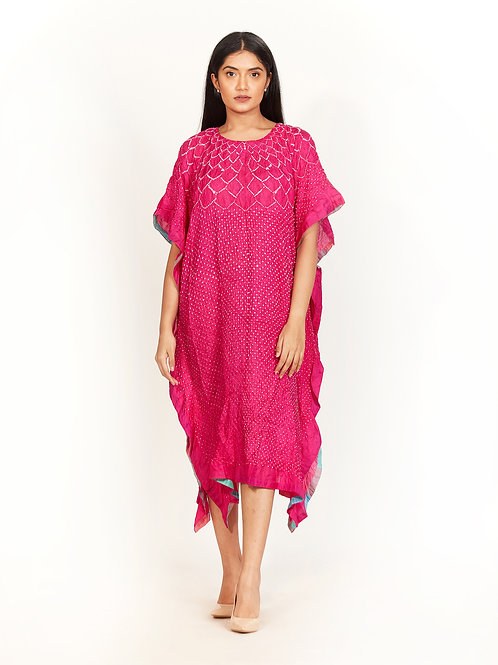 Pink Bandhani Kaftan