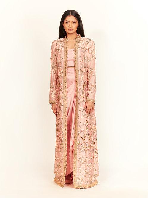 Rose Pink Bamboo Long Coat Set