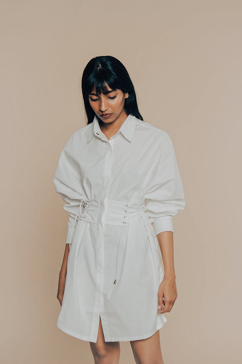 White Go With The Flow Shirt Dress