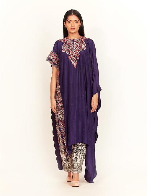 Purple Tribal Embroidered Kaftan Set