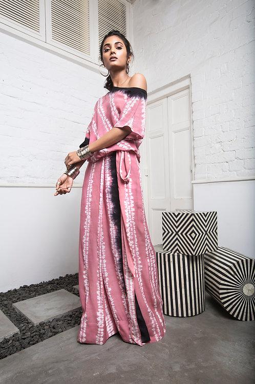 Pink Off Shoulder Top And Wrap Palazzo Pant Set