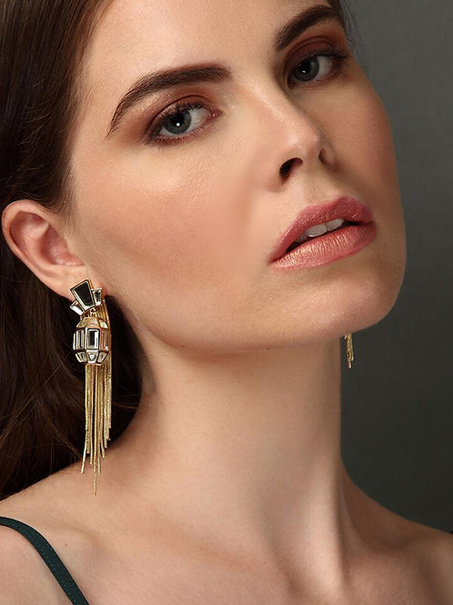 Bombay Deco Tassel Statement Mirror Earrings in Gold