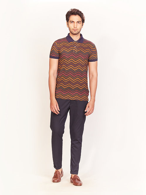 Indigo Multi-Color Chevron Digital Print Collar T-Shirt