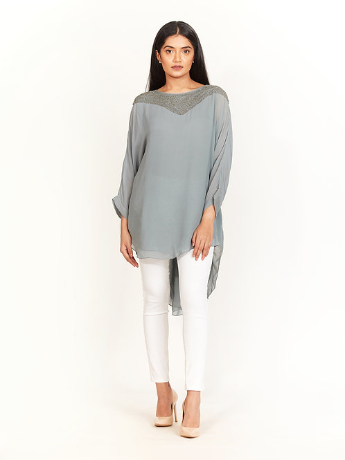 Oceanic Embellished High-Low Top