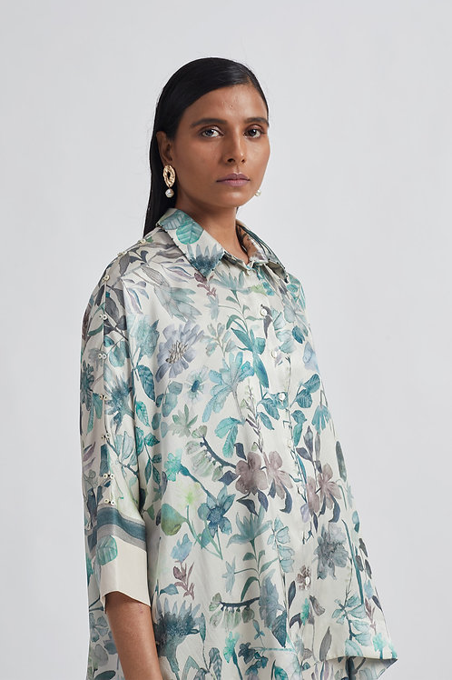 Ivory Blooming Satin Shirt