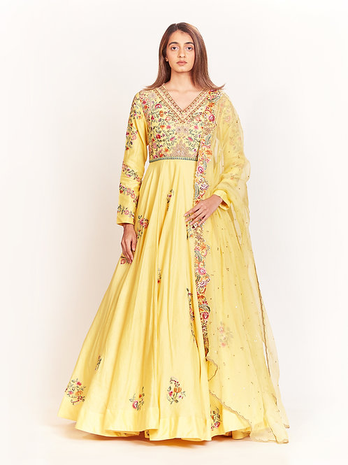 Yellow Embroidered Kalidar Set