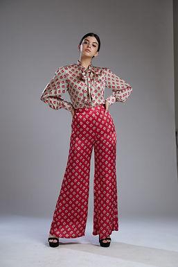 Beige And Pink Motif Shirt