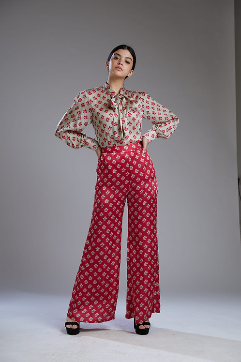 Pink And Beige Motif Palazzo Pants