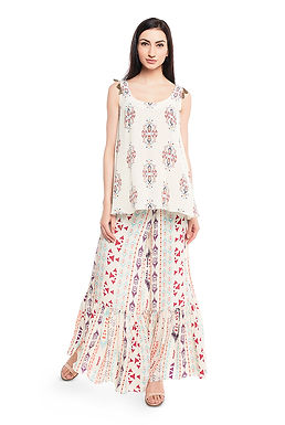 Cream Printed Crepe Kurta Set