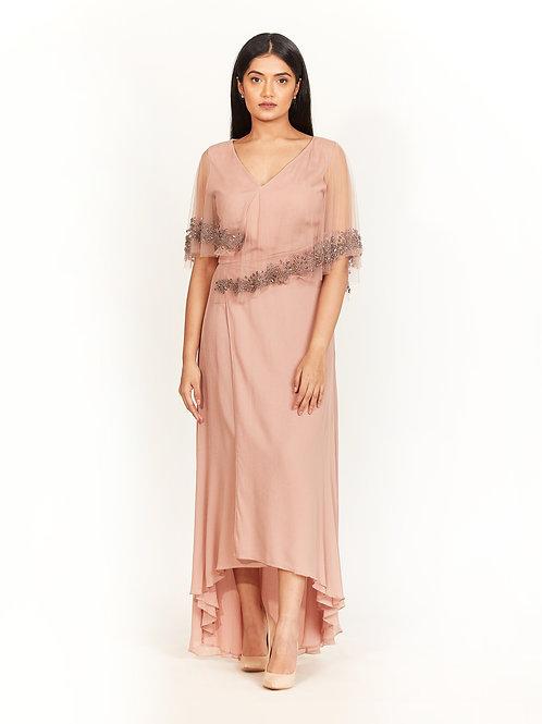 Burnt Sienna Embellished Cape Dress