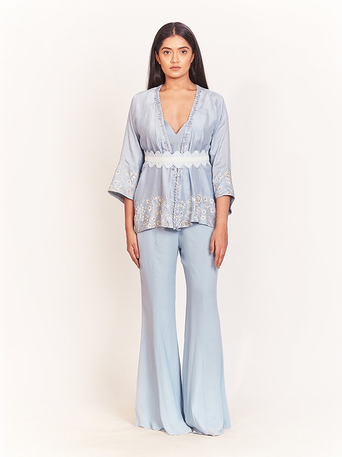 Blue Kimono With Bell Pant Set