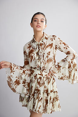 Cream And Brown Floral Frill Top