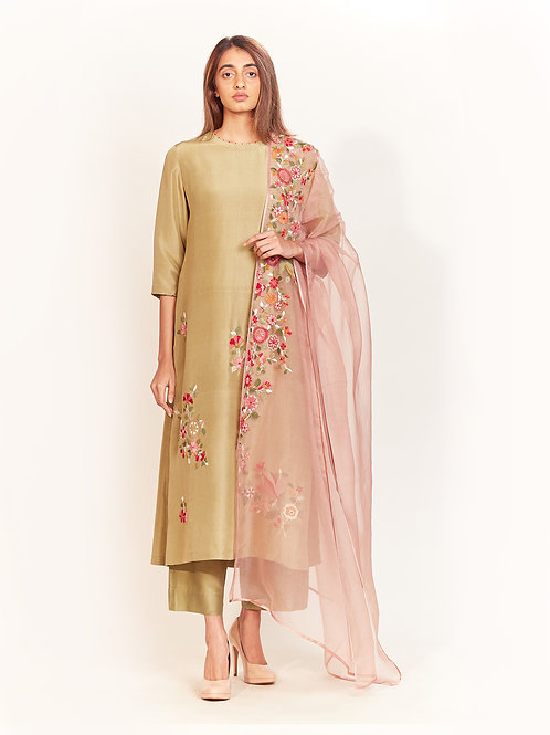 Peacock Flora Green Silk Kurta Set