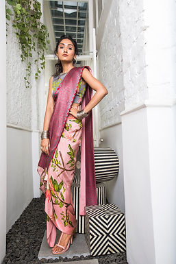 Pink Pre-draped saree with Blouse