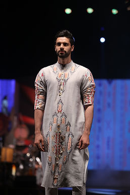Amir Grey Printed Dupion Silk Kurta Set