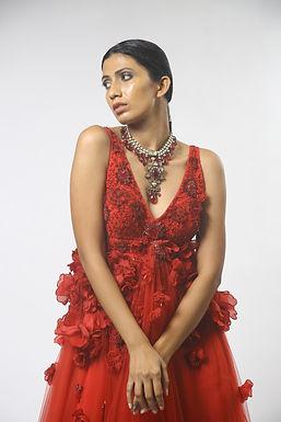 Red 3D Floral Embellished Gown