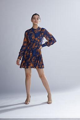 Blue And Orange Floral Frill Short Dress