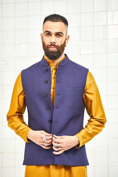 Blue Dhadhu Quilted Waistcoat