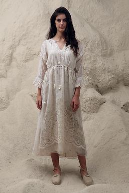 Ivory Art Deco Maxi Dress