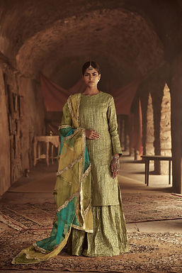Olive Green, Mustard And Turquoise Eiva Garara Set