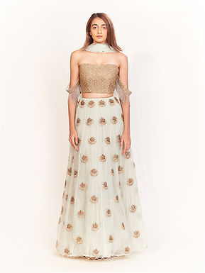 Ice Blue Embroidered Gold And Pearl Lehenga Set
