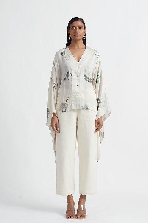 Ivory Bloom Kimono Shirt