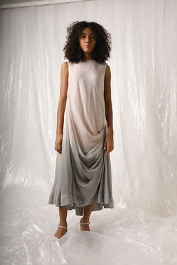 Pink Grey Ombre Drape Dress