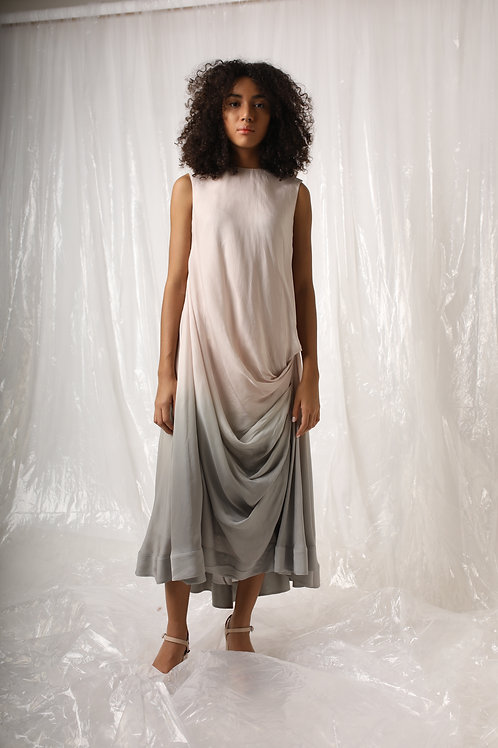 Pink Grey Ombre Drape Dress