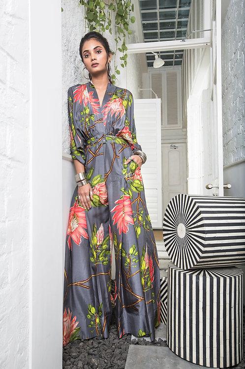 Grey Kimono Box Pleat Jumpsuit