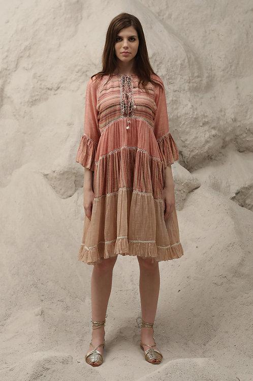 Peach Tibal Print Dress
