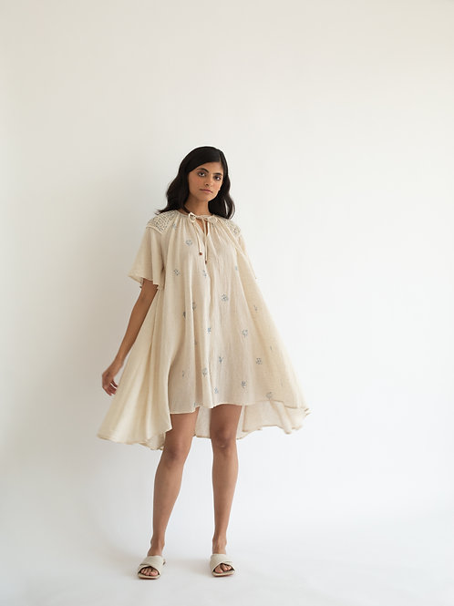 Ivory Block Print Louisa Dress