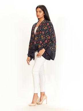 Navy Chidiya Print Kimono Jacket