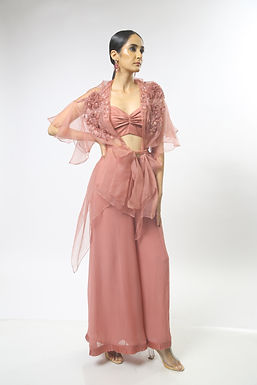 Dusty Pink 3D Floral Embroidered Cape Set