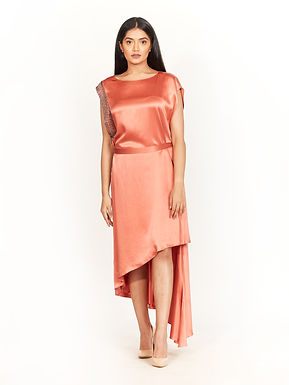 Terracotta Satin High-Low Dress