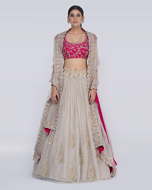 Silver and pink Chitra Zahra Tissue Lehenga