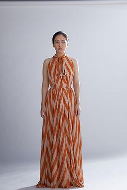 Orange And Peach Stripe Dress