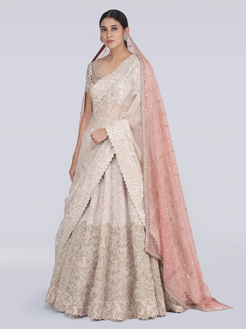Off white and peach Chitra Nariin Jaal Lehenga